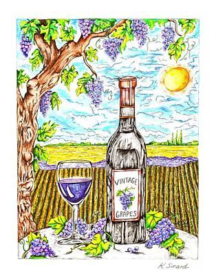 Grape Vines Drawing - Vineyard by Karen Sirard
