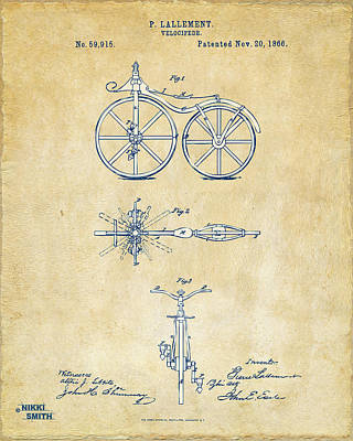 Drawing - Vintage 1866 Velocipede Bicycle Patent Artwork by Nikki Marie Smith