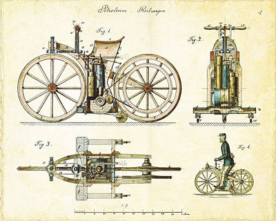 Hobbies Drawing - Vintage 1885 Daimler Reitwagen First Motorcycle by Nikki Marie Smith