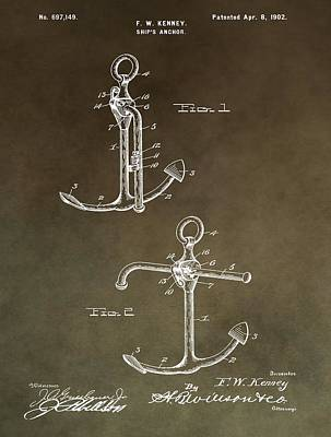 Stop Mixed Media - Vintage 1902 Anchor Patent by Dan Sproul