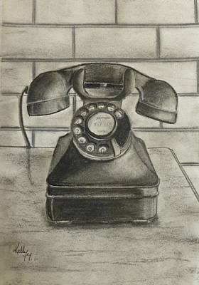 Vintage 1940's Telephone Print by Kelly Mills