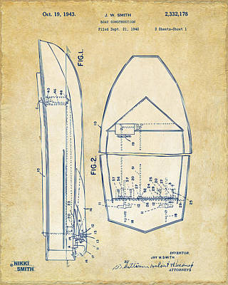Boat Digital Art - Vintage 1943 Chris Craft Boat Patent Artwork by Nikki Marie Smith