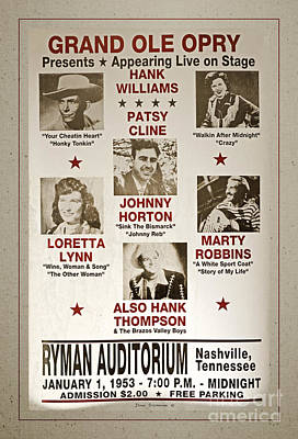 Ryman Auditorium Photograph - Vintage 1953 Grand Ole Opry Poster With Border by John Stephens