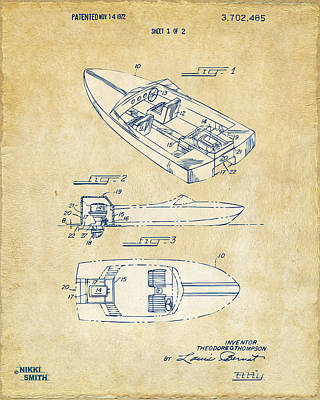 Boat Digital Art - Vintage 1972 Chris Craft Boat Patent Artwork by Nikki Marie Smith