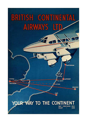 Vintage Airline Ad 1935 Print by Andrew Fare