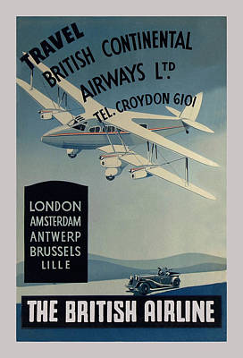 Vintage Airline Ad 1936 Print by Andrew Fare