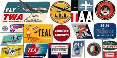 Vintage Airlines Logos Print by Don Struke