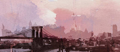 Brooklyn Bridge Painting - Vintage America Brooklyn 1930 by Steve K