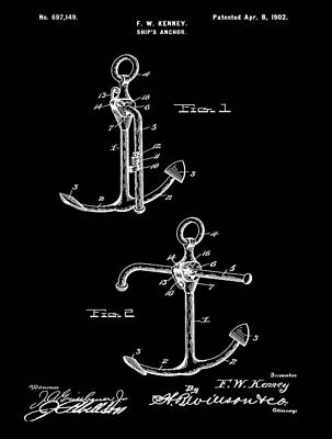 Stop Mixed Media - Vintage Anchor Patent by Dan Sproul