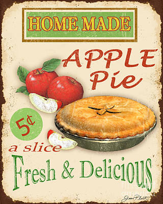 Bakery Digital Art - Vintage Apple Pie Sign by Jean Plout