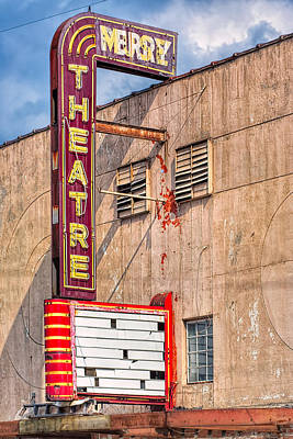 Architecture Photograph - Vintage Art Deco Theatre Marquee - Perry Georgia by Mark E Tisdale