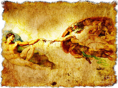 Vintage Art - The Creation Of Adam Print by Stefano Senise