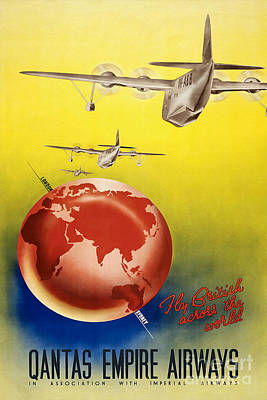 Airlines Photograph - Vintage Australia Travel Poster by Jon Neidert