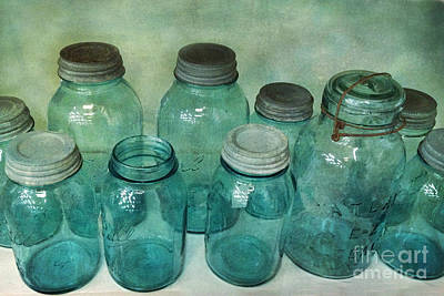 Vintage Ball Jars Shabby Chic Cottage Aqua Blue Ball Jars Print Print by Kathy Fornal