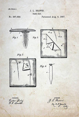 1st Base Photograph - Vintage Baseball Base Patent by Paul Ward