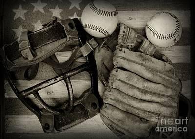 Folk Art Photograph - Vintage Baseball Equipment by Paul Ward
