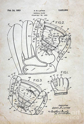 1st Base Photograph - Vintage Baseball Glove Patent by Paul Ward
