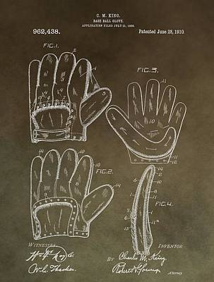 Hand Thrown Mixed Media - Vintage Baseball Mitt Patent by Dan Sproul