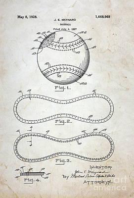 1st Base Photograph - Vintage Baseball Patent by Paul Ward