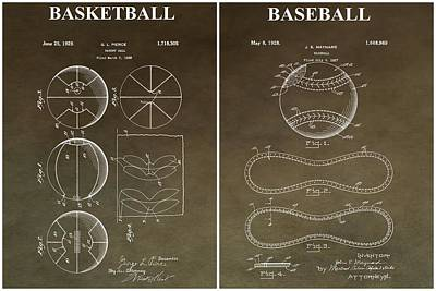 Sports Mixed Media - Vintage Basketball Baseball Patent by Dan Sproul