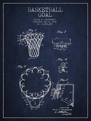 Vintage Basketball Goal Patent From 1936 Print by Aged Pixel