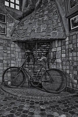 Steampunk Photograph - Vintage Bicycle Bw by Susan Candelario