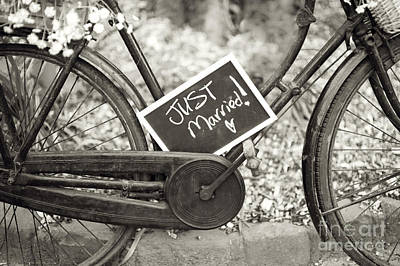 Sepia Chalk Photograph - Vintage Bicycle With Just Married Chalk Board by Lee Avison