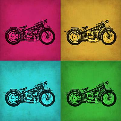 Motorcycles Digital Art - Vintage Bike Pop Art 1 by Naxart Studio
