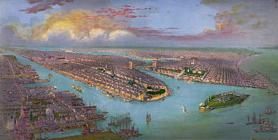 New York State Drawing - Vintage Bird's Eye View Of New York City - Circa 1885 by Blue Monocle