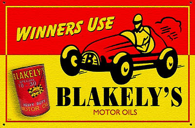 Vintage Blakely's Motor Oils Metal Sign Print by Marvin Blaine