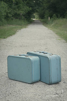 Buy Sell Photograph - Vintage Blue Suitcases On A Gravel Road by Edward Fielding