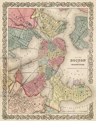 Vintage Boston Map 2 Print by Joann Vitali