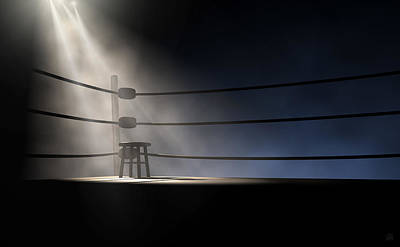 Isolated Digital Art - Vintage Boxing Corner And Stool by Allan Swart