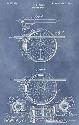 Stop Mixed Media - Vintage Brake Patent by Dan Sproul
