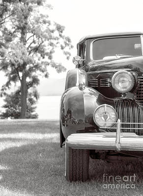 Headlight Photograph - Vintage Caddy Automobile Black And White by Edward Fielding