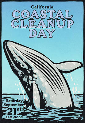 Vintage California Coastal Cleanup Day Whale Poster Print by California Coastal Commission