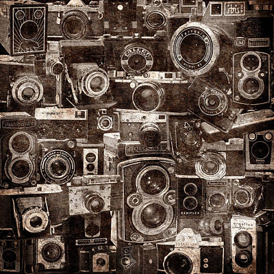 Vintage Camera Montage 2 Print by Andrew Fare