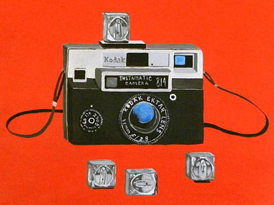 Red Cube Painting - Vintage Camera With Flash Cube by Karyn Robinson