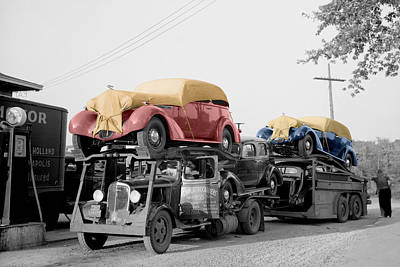Car Carrier Photograph - Vintage Car Carrier by Andrew Fare