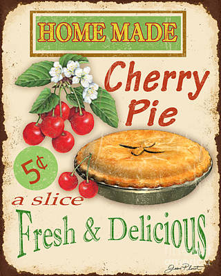 Bakery Digital Art - Vintage Cherry Pie Sign by Jean Plout