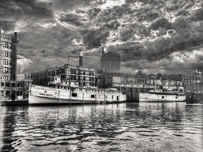 Vintage Chicago - Graham And Morton Line Docks 1900 Print by Ben Thompson