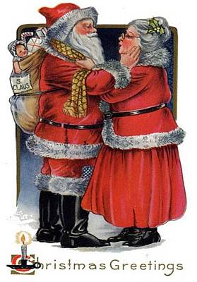 Women Together Mixed Media - Vintage Christmas Greetings From Mr And Mrs Claus by Tracey Harrington-Simpson