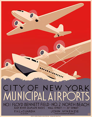 Vintage City Of New York Municipal Airports Poster 1937 Print by Mountain Dreams