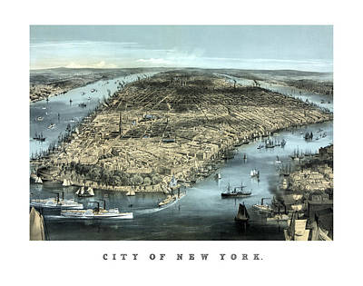 Nyc Mixed Media - Vintage City Of New York by War Is Hell Store