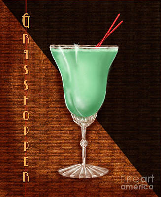 Orange Julep Mixed Media - Vintage Cocktails-grasshopper by Shari Warren