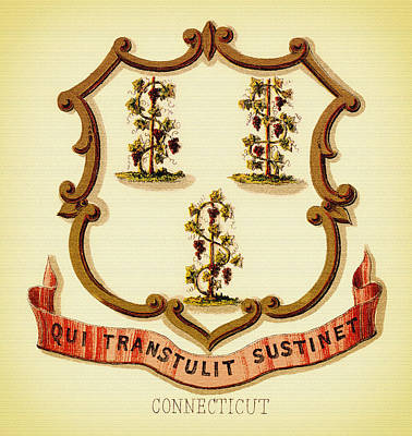Vintage Connecticut Coat Of Arms - 1876 Print by Mountain Dreams