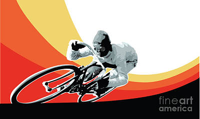 Tour Digital Art - Vintage Cyclist With Colored Swoosh Poster Print Speed Demon by Sassan Filsoof