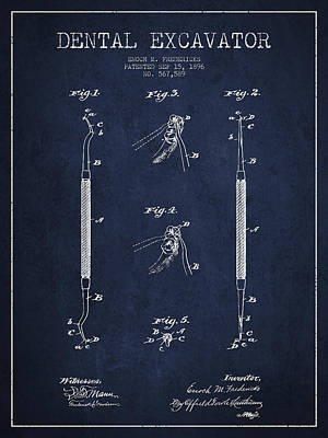 Vintage Dental Excavator Patent Drawing From 1896 - Navy Blue Print by Aged Pixel