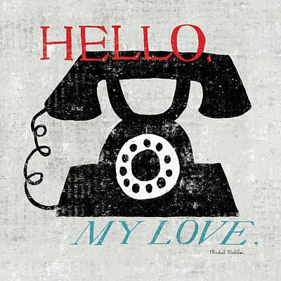 Phone Painting - Vintage Desktop - Phone by Michael Mullan