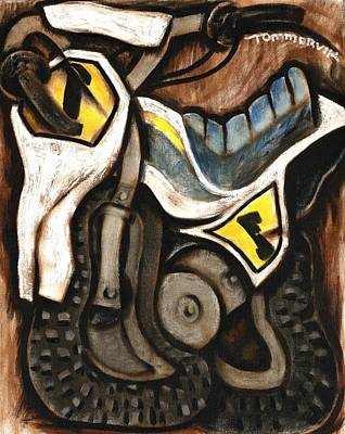 Bikes Painting - Tommervik Abstract Vintage Dirt Bike Art Print by Tommervik